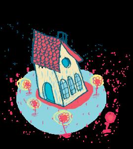 Dessin d'une maison avec un toit rouge, entourée de fleurs