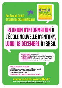 """Affiche """"Réunion d'information à l'école nouvelle d'Antony, lundi 18 décembre à 18h30"""""""
