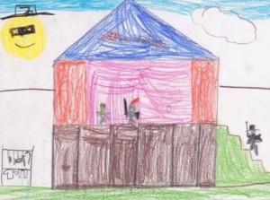 Dessin d'enfant représentant un théâtre où deux personnages s'y affrontent, un troisième monte en scène. A gauche, des costumes sur des cintres.